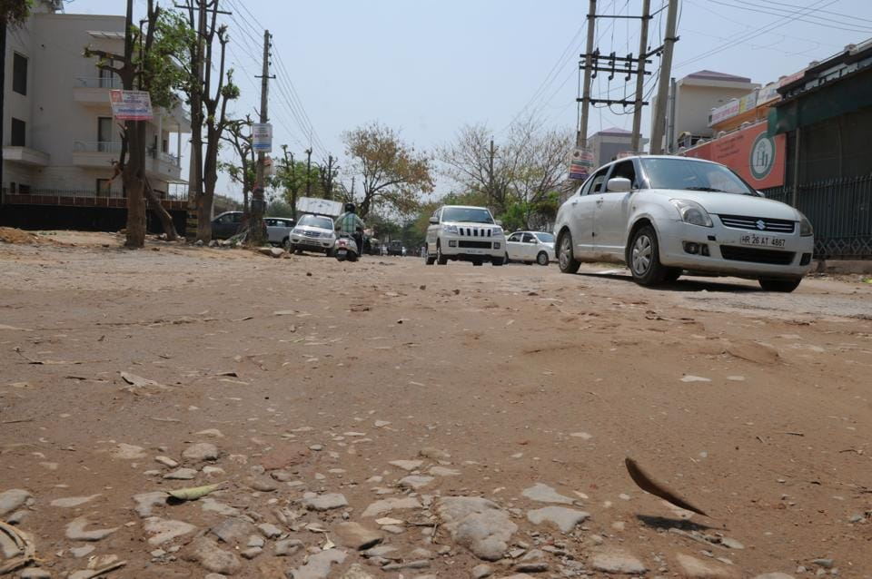 The roads in the Sushant Lok area are in particularly bad state.