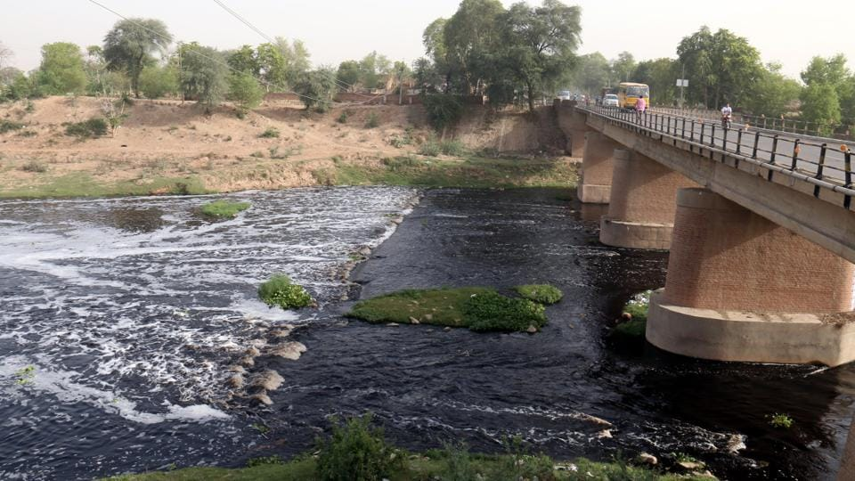 Ghaggar river in Sardulgarh town of Mansa district.