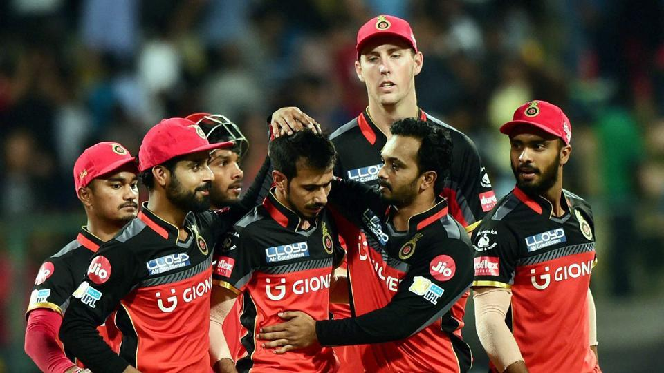 Royal Challengers Bangalore's Yuzvendra Chahal celebrates the wicket of Carlos Brathwaite. (PTI)