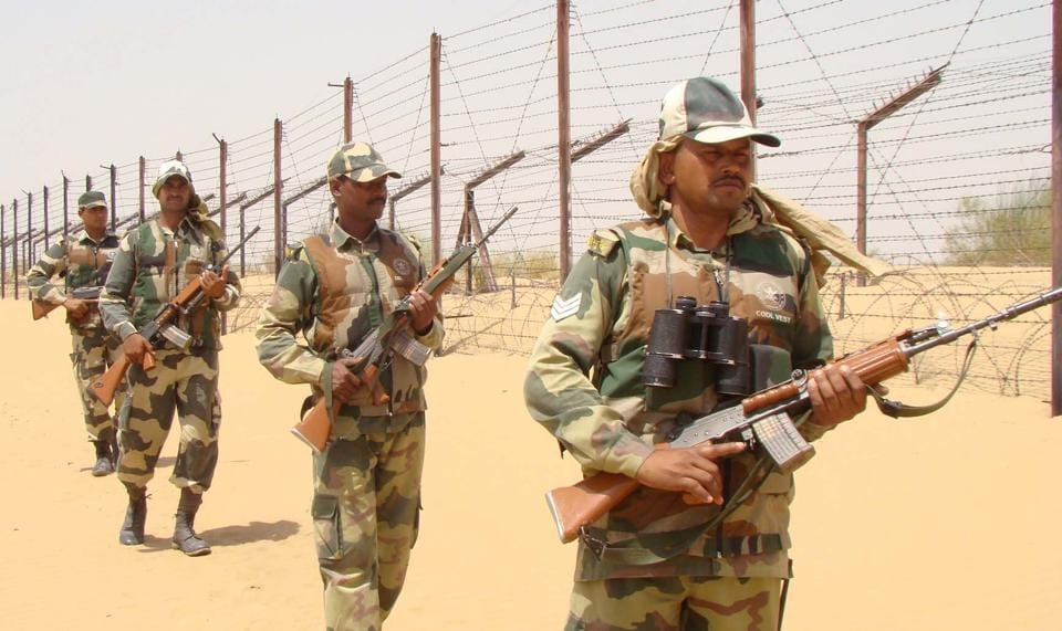 BSF jawans guarding the border with Pakistan wear cooling  vests during user trial five years ago.