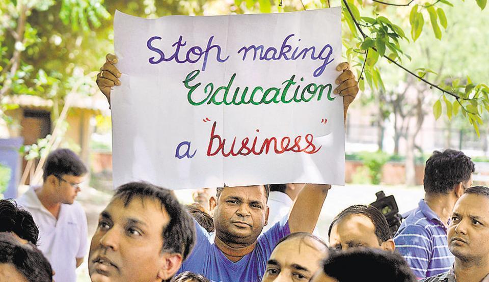 Parents protest school fee hike at Jantar Mantar on Sunday.