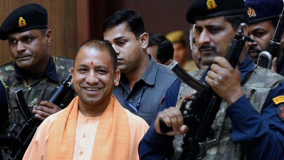 UP chief minister Yogi Adityanath comes out after the cabinet meeting at Lok Bhawan in Lucknow.