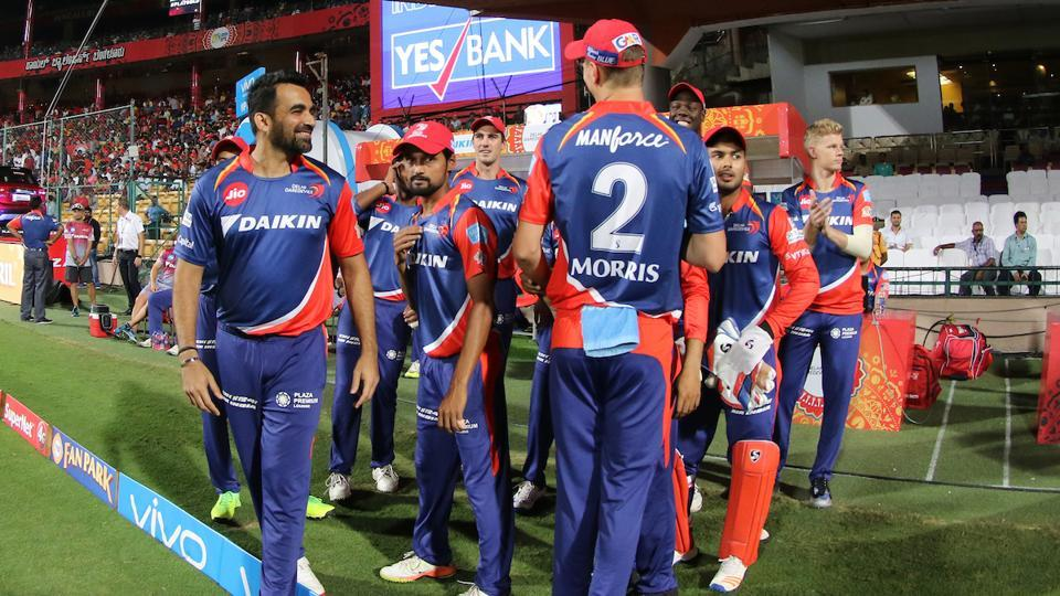 Delhi Daredevils players entering the field ahead of their match against Delhi Daredevils. (BCCI)