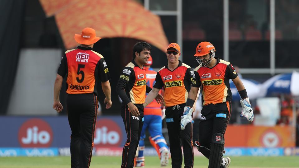 Rashid Khan's haul of 3/19, combined with David Warner's unbeaten 76 helped Sunrisers Hyderabad defeat Gujarat Lions by nine wickets in the 2017 Indian Premier League encounter in Hyderabad. (BCCI)