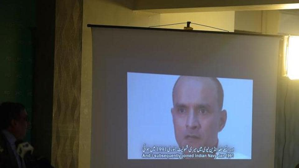 A video grab of Kulbhushan Jadhav  in a video released by Pakistani intelligence.