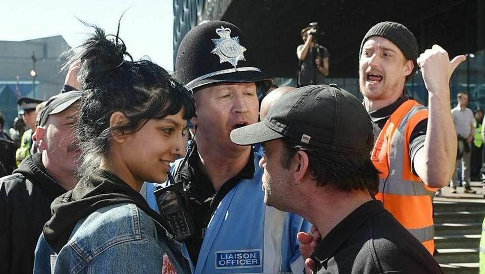 Saffiyah Khan sized up EDL leader Ian Crossland at the march in Birmingham.