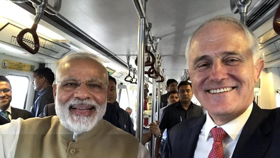 The Australian prime minister arrived in New Delhi on Sunday on a four-day India visit.