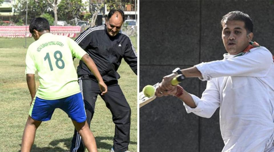 Candidate from CR Park, Virender Kasana, plays football with the local youth, who have been demanding a football field.  Candidate from Andrews Ganj, Abhishek Dutt, tries his hand at 'gully cricket'.