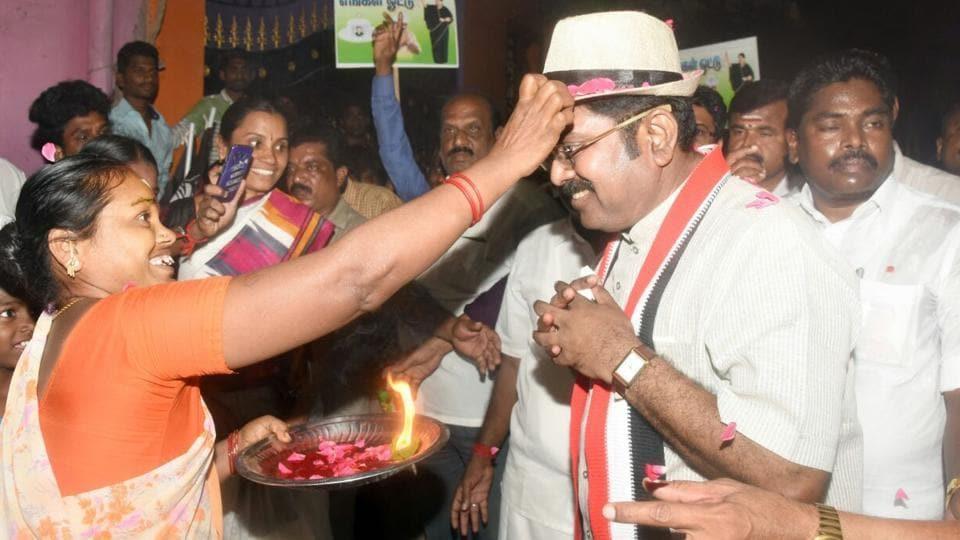 AIADMK's Sasikala faction candidate TTV Dinakaran is alleged to have distributed Rs 89.5 crore among voters to lure them to choose him.