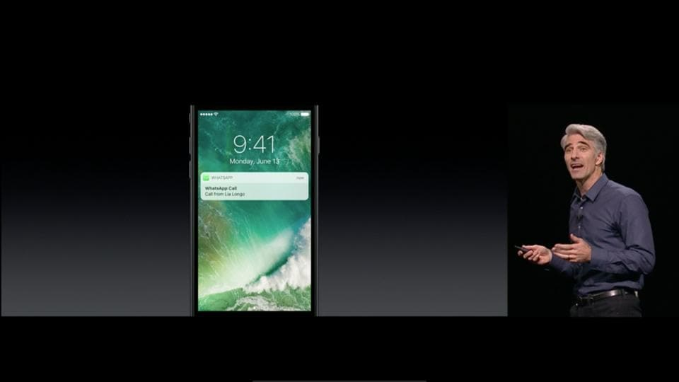 The picture shows a top Apple executive demonstrating the new iPhone lock screen at the launch of iPhone 7 and iPhone 7 Plus last year at the Graham Bell Civic Auditorium in San Francisco.