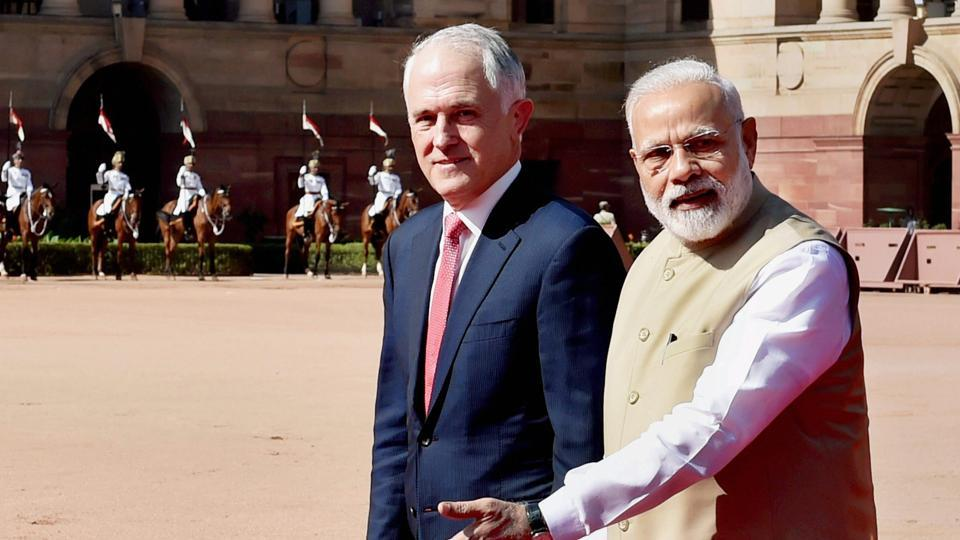 Prime Minister Narendra Modi with his Australian counterpart Malcolm Turnbull during the ceremonial reception at the forecourt of Rashtrapati Bhawan in New Delhi on Monday.