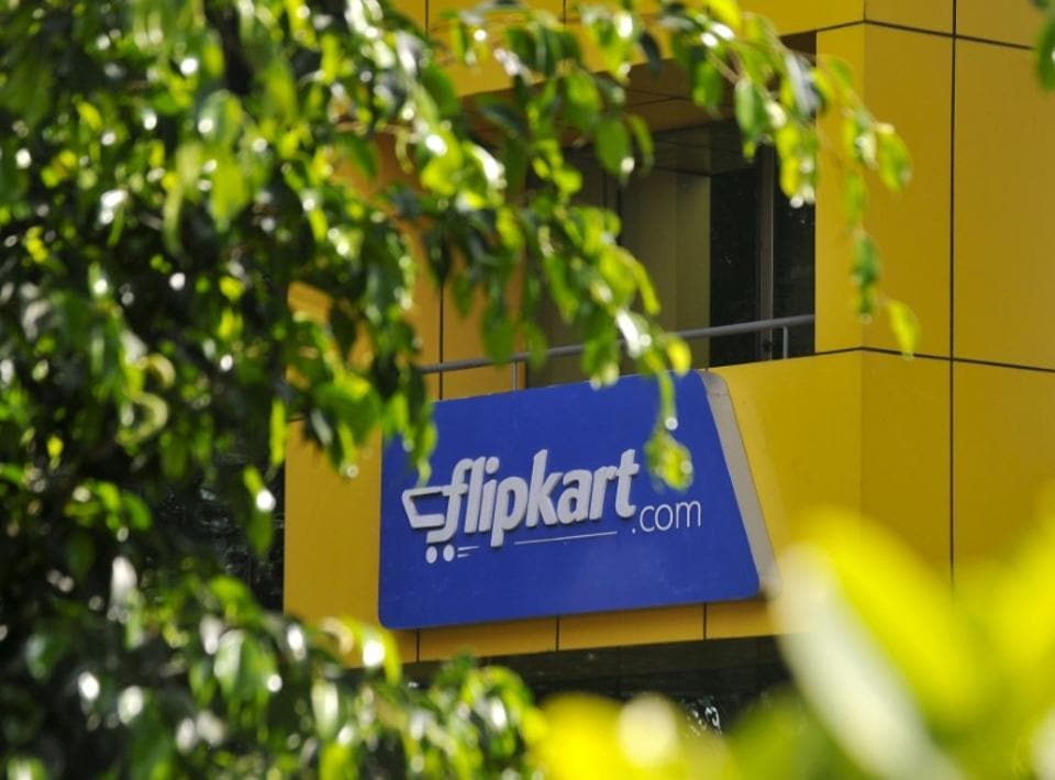 The logo of India's largest online marketplace Flipkart is seen on a building in Bengaluru.