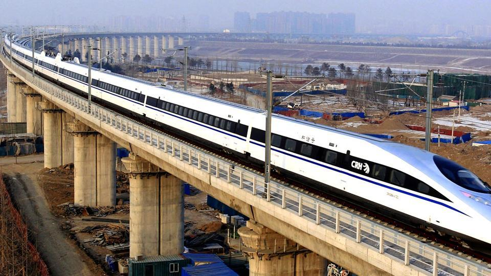 A bullet train passes in Beijing.