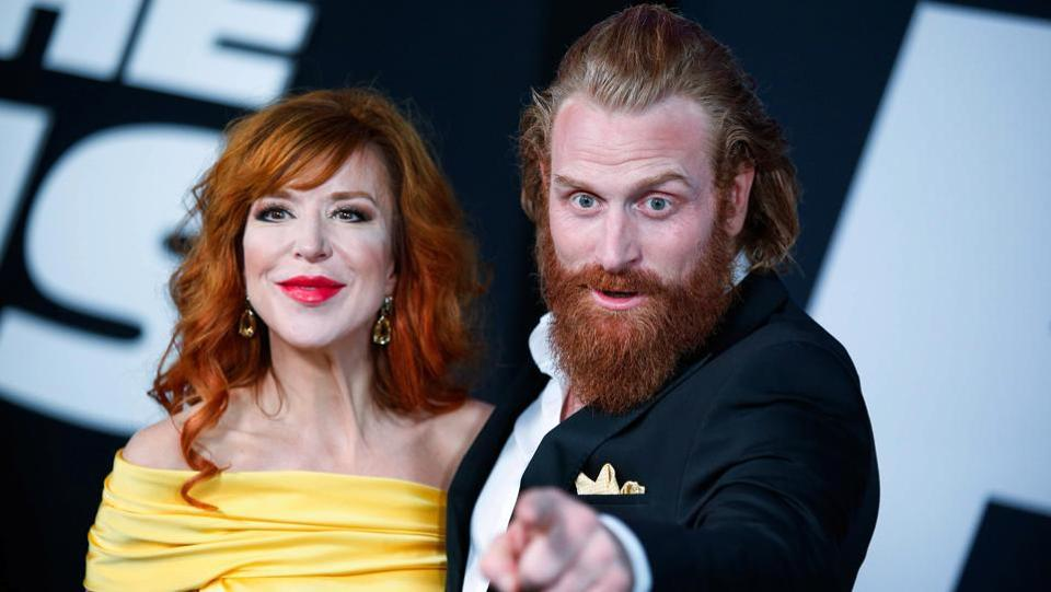Director Gry Molvaer Hivju and Game of Thrones actor Kristofer Hivju attend The Fate Of The Furious New York premiere. (REUTERS)