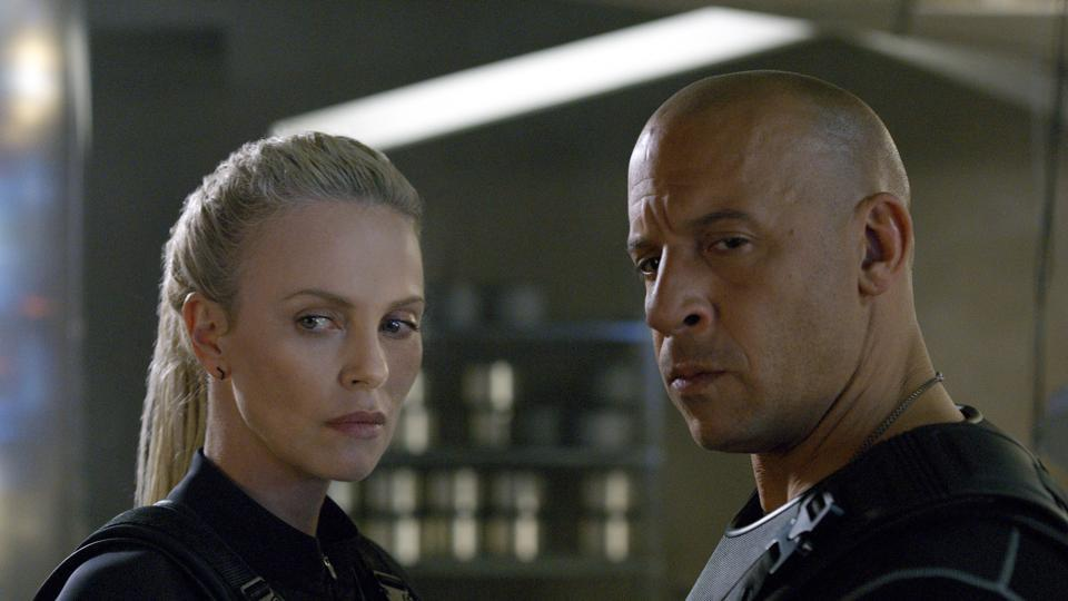 Vin Diesel and Charlize Theron in a still from Fate of the Furious.