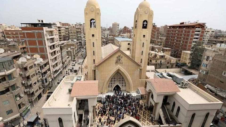 A general view is seen as Egyptians gather by a Coptic church that was bombed on Sunday in Tanta, Egypt, April 9, 2017.