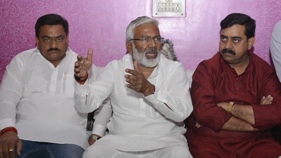 Uttar Pradesh transport minister Swatantra Dev Singh during his visit to Ghaziabad to inspect bus depots on Monday.