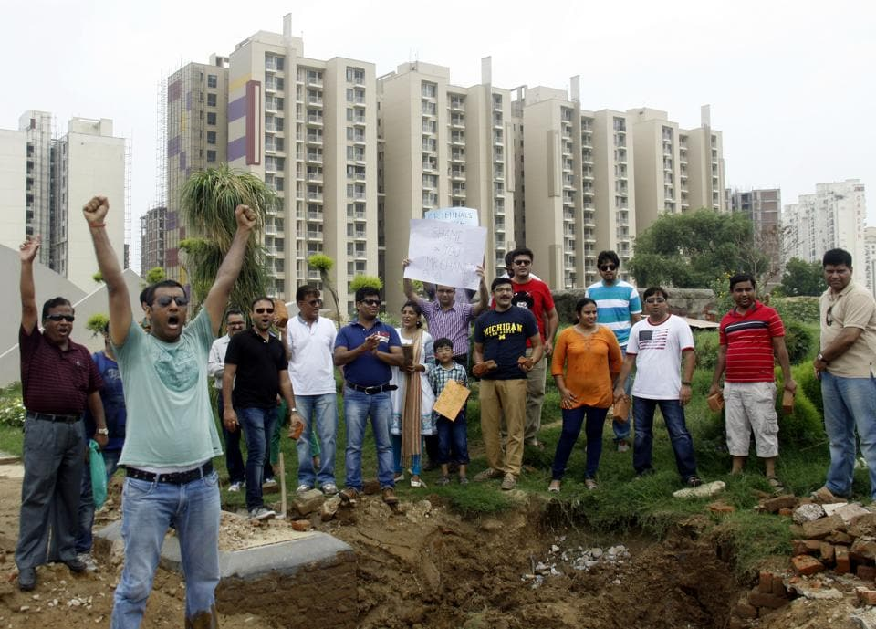 Homebuyers hold a protest against Unitech at Gurgaon's Sector-33.