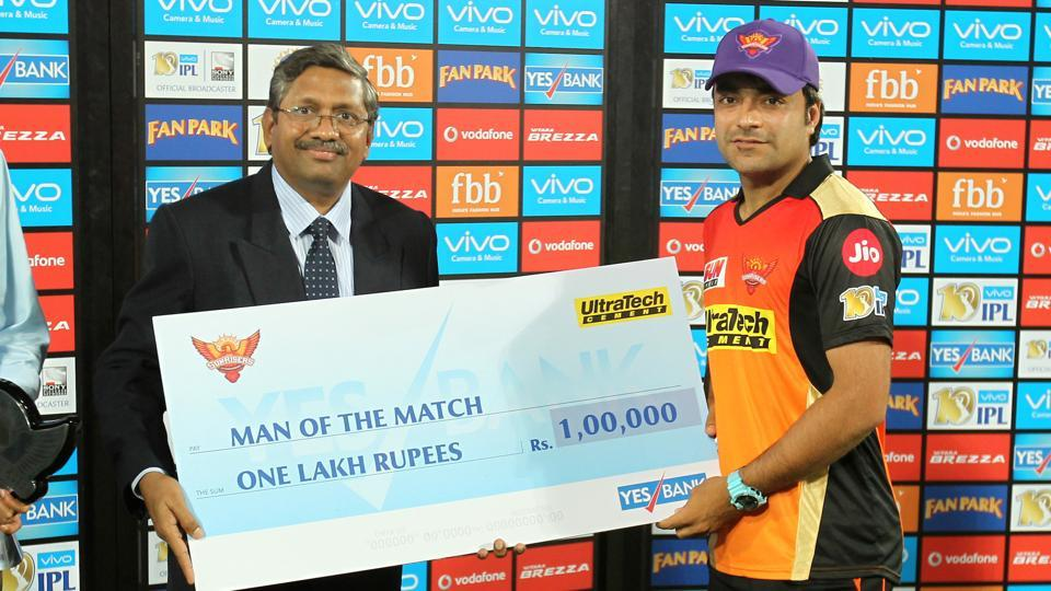 Rashid Khan was named the Man of the Match for his haul of 3/19. (BCCI)
