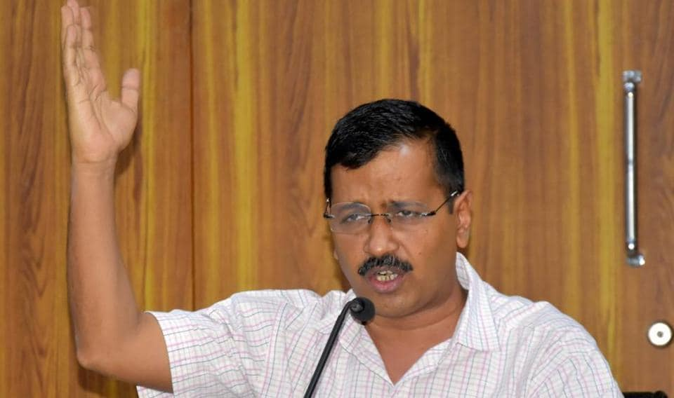 Delhi Chief Minister Arvind Kejriwal addresses a press conference at his residence in New Delhi on Monday.