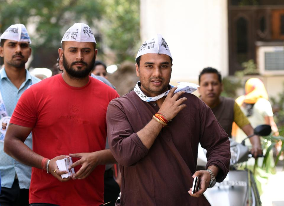 AAP candidate Abhinav Mishra during his election campaign in Rohini Sector 15. Several candidates in the April 23 municipal elections are under 25 years of age.