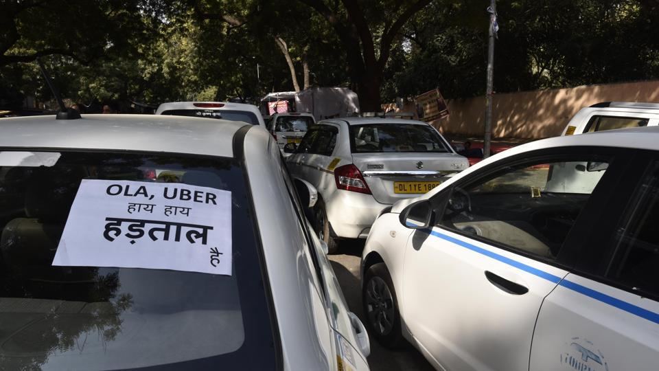 Passengers were hit on Monday as drivers of Ola and Uber taxis protested against the border tax  levied by Haryana government.