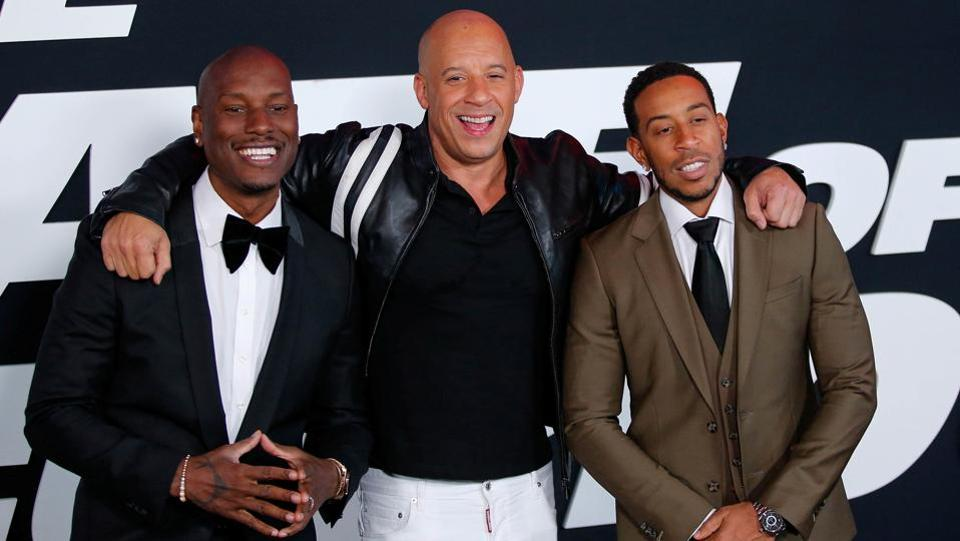 Actors Tyrese Gibson, Vin Diesel and Ludacris pose at the Fate Of The Furious red carpet premiere in New York City. (REUTERS)