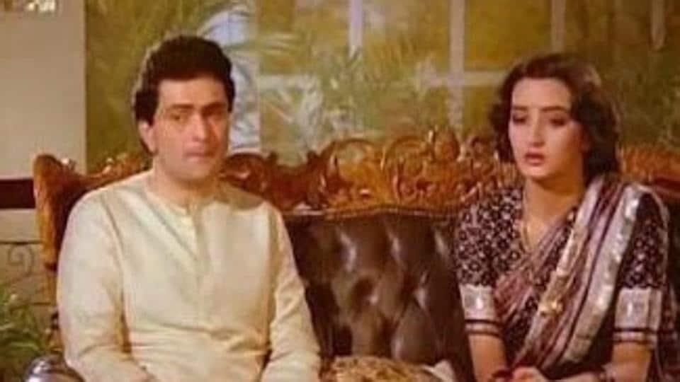 Rishi Kapoor and Farah in a still from Naseeb Apna Apna.