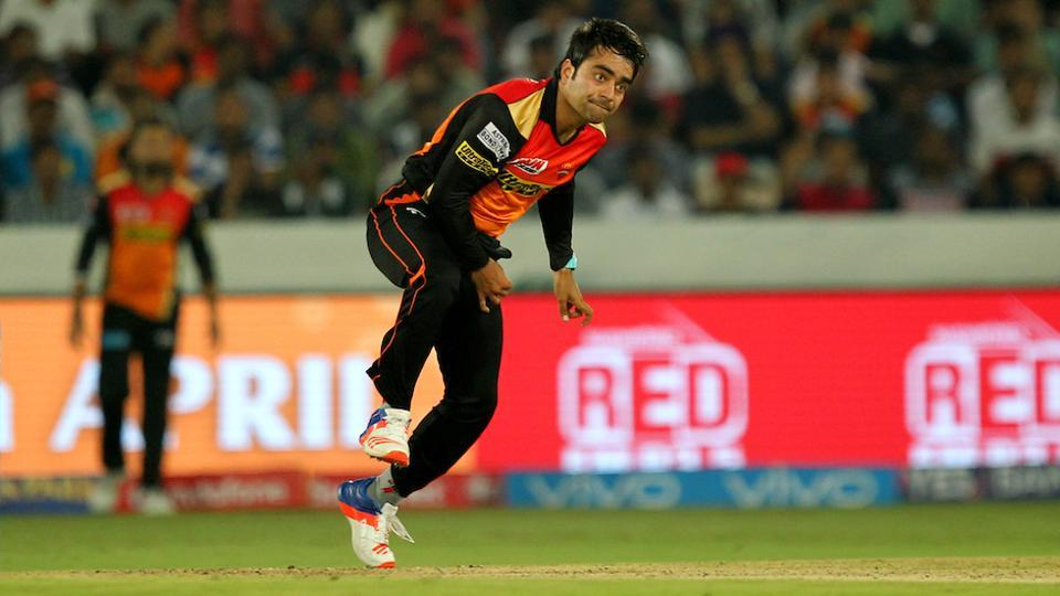 Rashid Khan of Sunrisers Hyderabad took 3/19 against Royal Challengers Bangalore in their 2017 Indian Premier League match in Hyderabad.