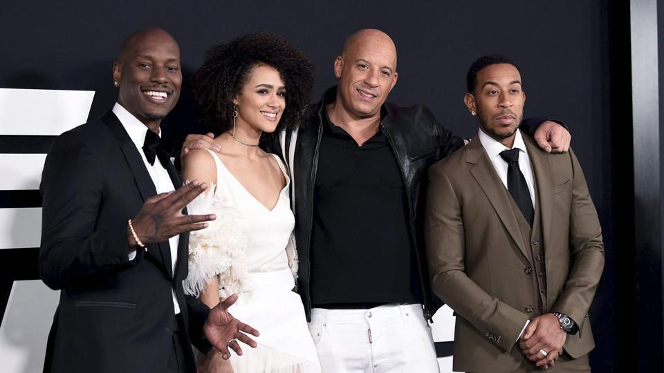 Tyrese Gibson, from left, Nathalie Emmanuel, Vin Diesel and Ludacris attend the world premiere of Universal Pictures' The Fate of the Furious at Radio City Music Hall. (AP)