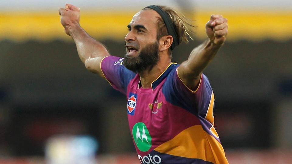 Imran Tahir of Rising Pune Supergiants celebrates the wicket of Wriddhiman Saha of Kings XI Punjab during their 2017 Indian Premier League at the Holkar Stadium in Indore on April 8.