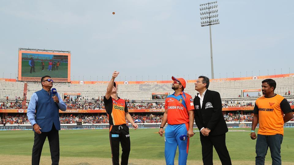 David Warner won the toss and chose to bowl against Gujarat Lions in their second game of the 2017 Indian Premier League. (BCCI)
