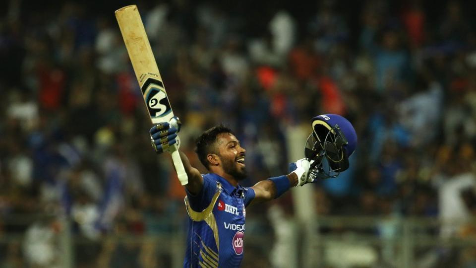 Hardik Pandya of the Mumbai Indians celebrates after hitting the winning runs against Kolkata Knight Riders in their 2017 Indian Premier League match at the Wankhede Stadium in Mumbai on Sunday.