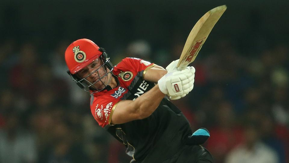 AB de Villiers of the Royal Challengers Bangalore hits a huge six during their 2017 Indian Premier League match against Kings XI Punjab at the Holkar Stadium in Indore on Monday.