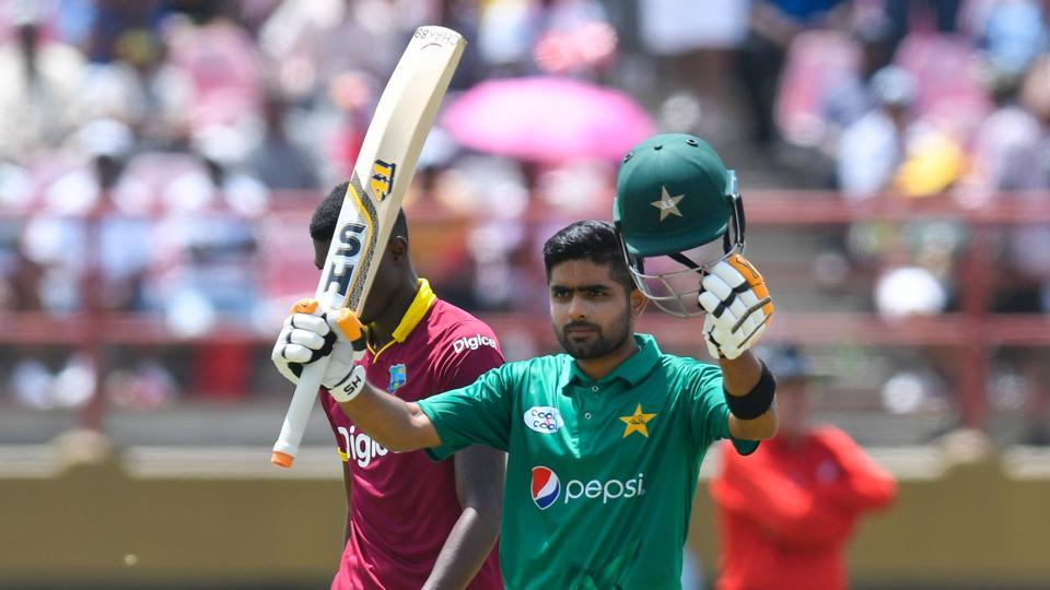 Babar Azam of Pakistan celebrates his century against West Indies during the 2nd ODI match between West Indies and Pakistan at Guyana National Stadium, Providence, Guyana.