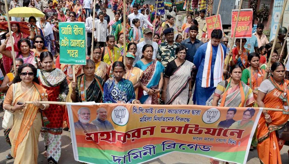 "The women's wing of BJP's Tripura unit organised a protest rally in Agartala against the ""rising"" crime against women in the state."