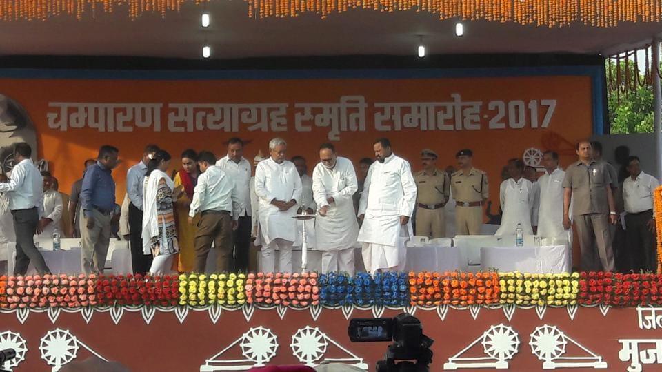 Chief minister Nitish Kumar at a Champaran satyagrah centenary function, at Muzaffarpur in Bihar on Tuesday.