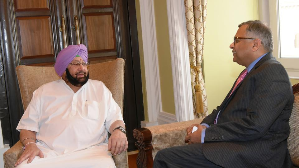 Punjab chief minister Capt Amarinder Singh with Tata Sons chairman N Chandrasekaran in Mumbai on Monday.