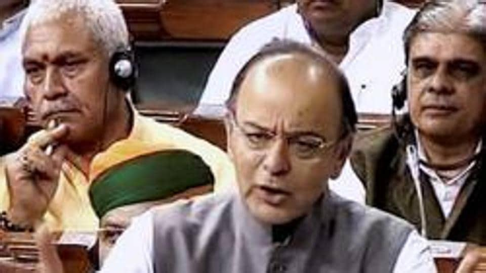 Finance minister Arun Jaitley speaks in the Lok Sabha in New Delhi.