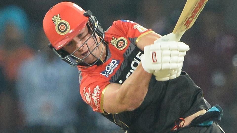 Royal Challengers Bangalore batsman AB de Villiers hits a six against Kings XIPunjab during their IPL 2017 encounter.
