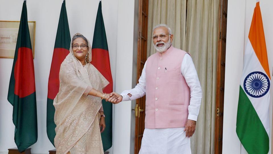 Prime Minister Narendra Modi with his Bangladeshi counterpart Sheikh Hasina, Hyderabad House, New Delhi, April 8