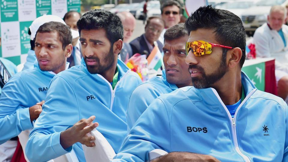 Indian tennis players (from right) Rohan Bopanna, Sriram Balaji, Prajnesh Gunneswaran and Ramkumar Ramnathan during the draws ceremony before the Davis Cup tie against Uzbekistan last week. All eyes will be on non-playing captain Mahesh Bhupathi on how he selects his players for the Canada tie.