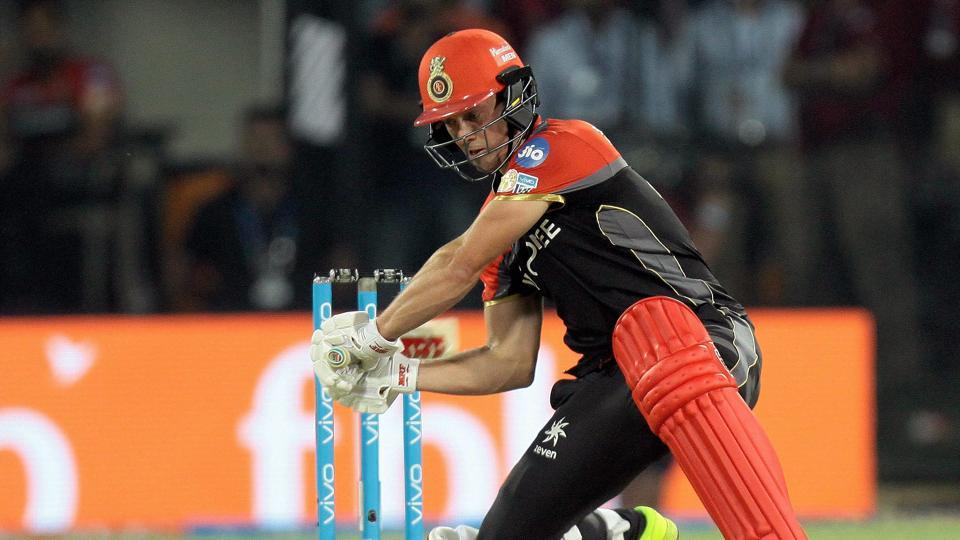 Royal Challengers Bangalore batsman AB de Villiers plays a shot during the IPL 2017 match against Kings XI Punjab at the Holkar Stadium in Indore on Monday.