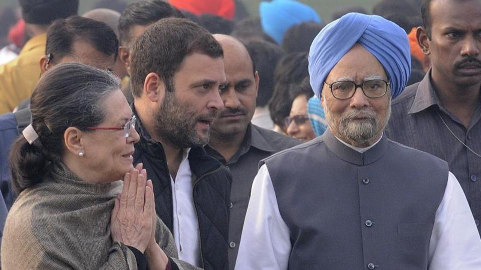 Former prime minister Manmohan Singh, Congress president Sonia Gandhi and party vice-president Rahul Gandhi at Jawaharlal Nehru's birth anniversary at Shanti Van in New Delhi, India.