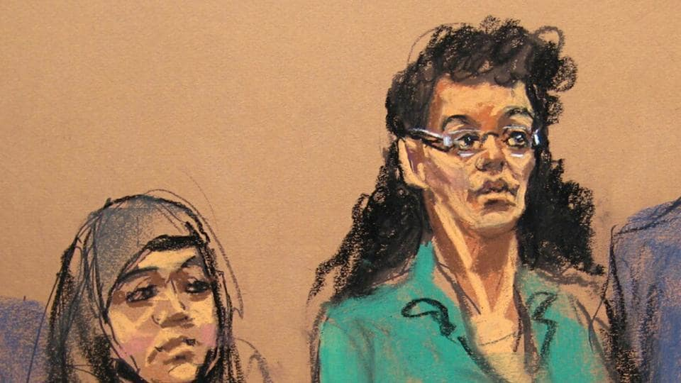 In this April 2, 2015 courtroom file sketch, defendants Noelle Velentzas, left and Asia Siddiqui, appear at federal court in New York after they were arrested for plotting to build a homemade bomb and wage jihad in New York City.