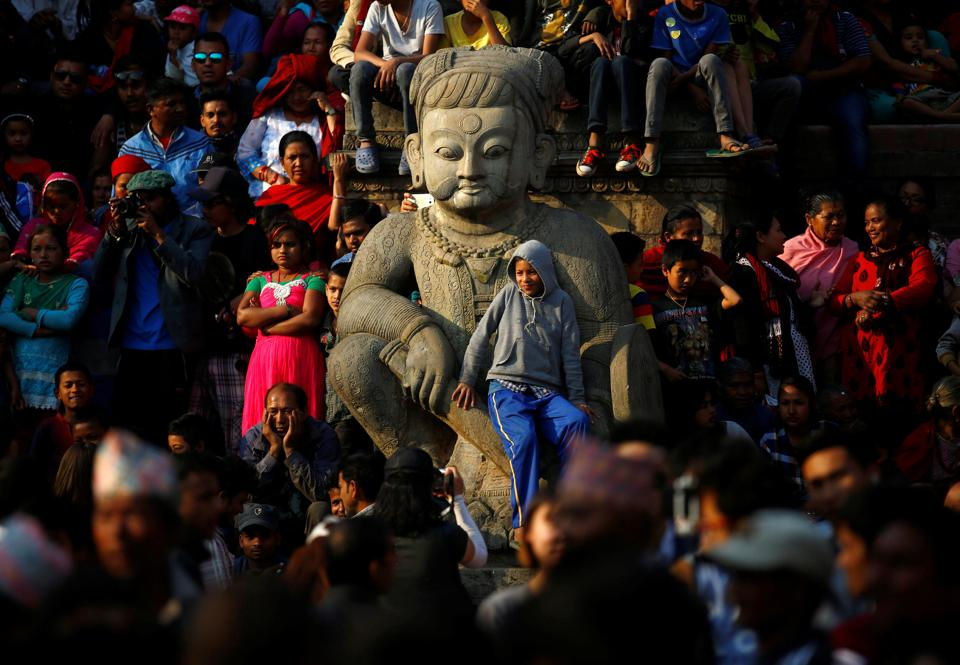 Bisket Jatra festival is celebrated in the month of April on the 1st day of Nepali month Baisakh. (Navesh Chitrakar/REUTERS)