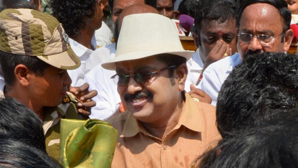 AIADMK (Amma) faction candidate TTV Dinakaran after filing his nomination papers for RK Nagar Assembly seat in Thondayarpettu, Chennai. The by-election was cancelled after the EC took notice of money being distributed in the constituency.