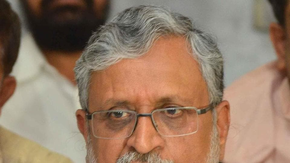 BJP leader Sushil Kumar Modi  addressing reporters in Patna on Tuesday,