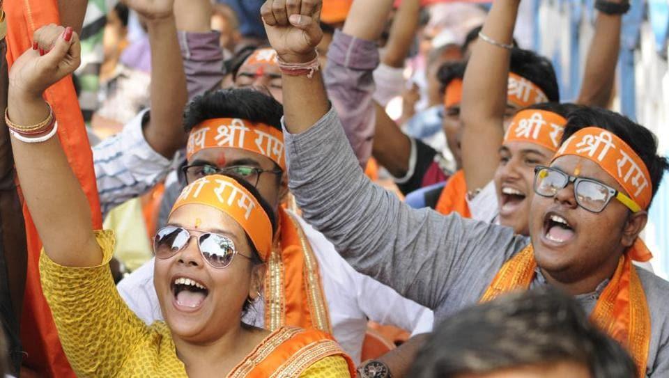 Vishwa Hindu Parishad supporters organised a rally in celebration of Ram Mahotsav and Hanuman Jayanti and demanding construction of Ram Temple at Ayodhya at Esplanade in Kolkata.