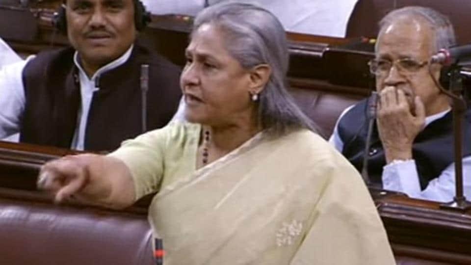 Samajwadi Party MP Jaya Bachchan in Rajya Sabha on Wednesday.